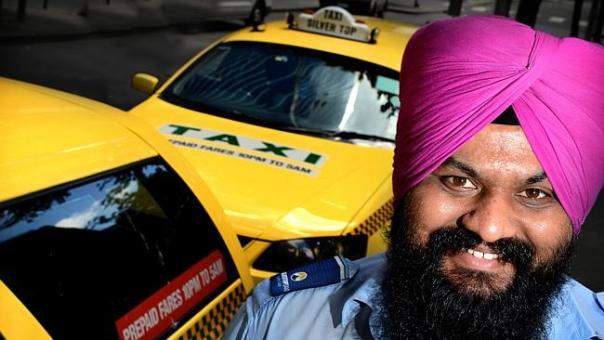 Indian taxi drivers are set to take over from Australian born drivers as the biggest share of the market. Dilbir Singh has been driving taxi's for the last six years in Melbourne. PICTURE TONY GOUGH